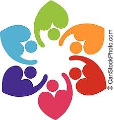 Teamwork heart love people logo