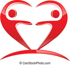 Teamwork heart shape logo - Teamwork heart shape icon vector