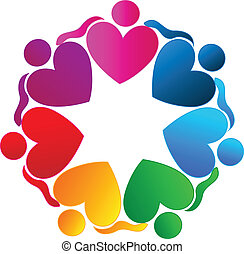Teamwork hearts hugging people logo