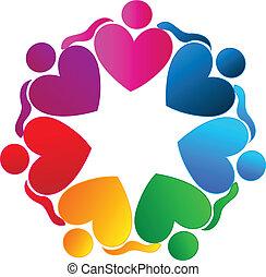 Teamwork hearts hugging people logo