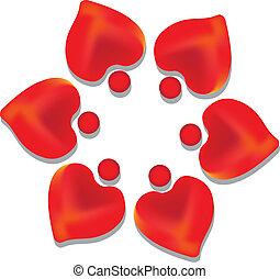 Teamwork hearts logo