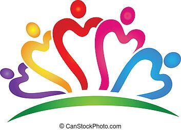 Teamwork hearts vivid colors logo