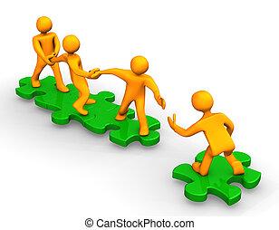 Teamwork Help - Orange cartoons on the green puzzles,...