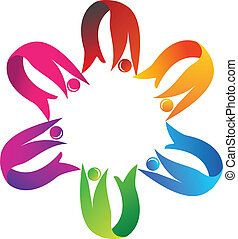 Teamwork helping logo