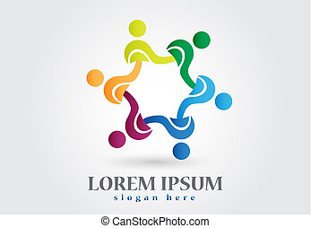 Teamwork helping logo vector