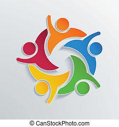 Teamwork Hi 5 in 3D color paper.