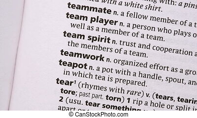 Teamwork highlighted in green in the dictionary