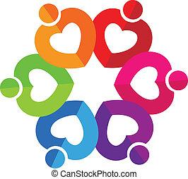 teamwork, hjärtan, logo