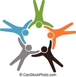 Teamwork holding each other full bo