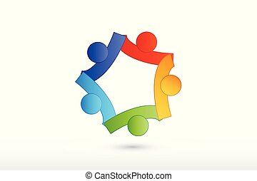 Teamwork holding hands helping people logo