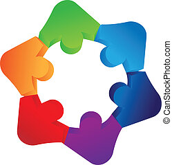 Teamwork holding hands logo
