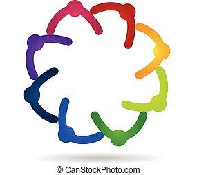 Teamwork holding hands logo