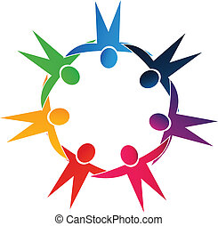 Teamwork holding hands people vector