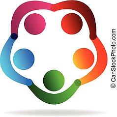 Teamwork holding hands people logo