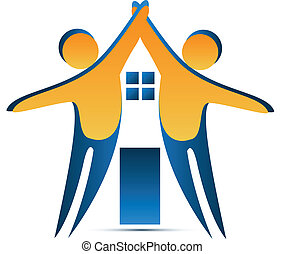 Teamwork house shape logo vector design