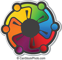 Teamwork Hug 6 Logo Vector