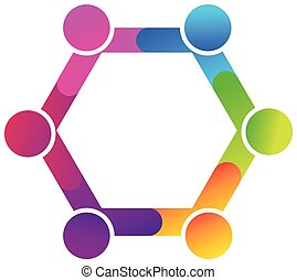 Teamwork hug diversity people logo
