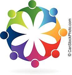 Teamwork hug flower people id card icon logo