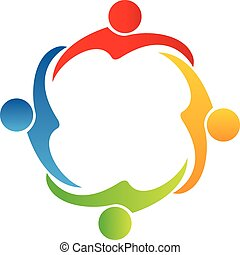 Teamwork hug friendship logo vector