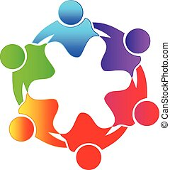 Teamwork hug people colorful logo