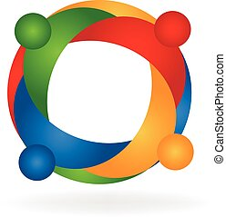 Teamwork hug people logo