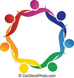 Teamwork hug symbol logo vector design