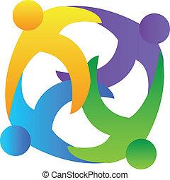 Teamwork hugging logo