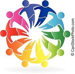 Teamwork hugging people logo