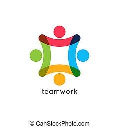 teamwork icon business concept. Team work union logo on...