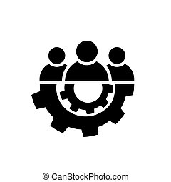 Teamwork icon in flat style. Team and gear symbol