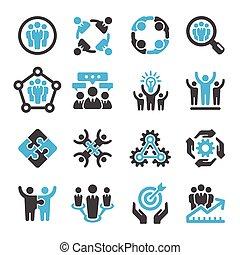 teamwork, partnership icon set