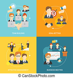 Teamwork business collaboration effective management flat composition icons set isolated vector illustration.