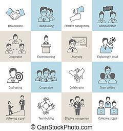 Teamwork icons line flat - Teamwork business collaboration ...