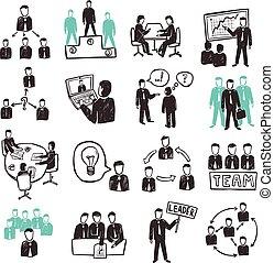 Teamwork Icons Set - Teamwork icons set with sketch business...