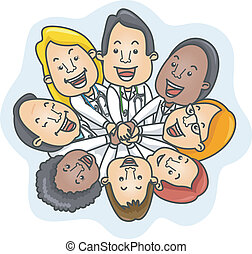Illustration of a Team of Doctors Demonstrating Unity