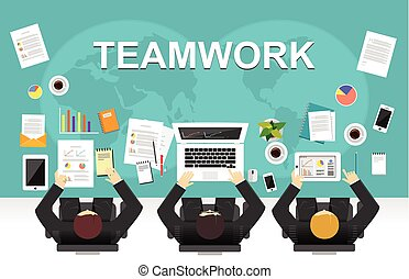Teamwork illustration. Office workspace concept. Flat design illustration concepts for teamwork, team, meeting, discussion, working, business, management team, creative team, strategy.