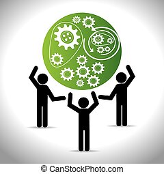 teamwork, illustration., vektor, konstruktion