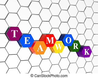 3d colour cubes hexahedrons with white letters - teamwork, word, text, in cellular structure