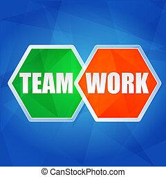 teamwork in hexagons, flat design