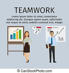 Teamwork infographic with business people