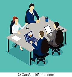 Teamwork Isometric Concept