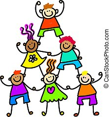 teamwork kids - Whimsical drawing of a group of happy and...