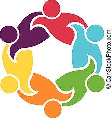 teamwork, koło, 6, grupa, ludzie