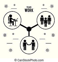 teamwork, konstruktion, iconerne