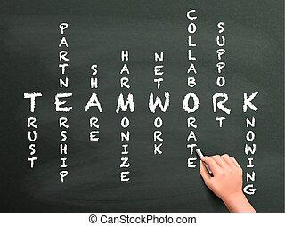 teamwork, krzyżówka, ręka, pojęcie, pisemny