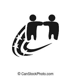 teamwork, løsning, sammen, commitment, sort, vej, logo