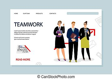 Teamwork landing page vector template with businesspeople characters