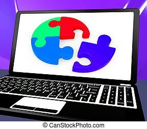 teamwork, laptop, pokaz, zagadka, niedokończony