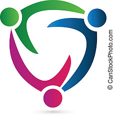 Teamwork leader logo concept