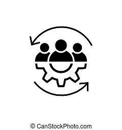 Teamwork line icon in flat style Leadership symbol